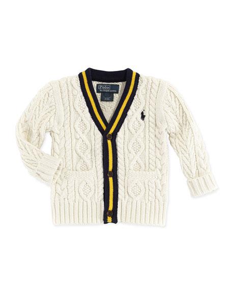 Cricket V-Neck Cardigan, Cream, 3-12 Months