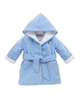 Ralph Lauren Childrenswear Boys' Gingham Bathrobe, Light Blue, 3-9 Months