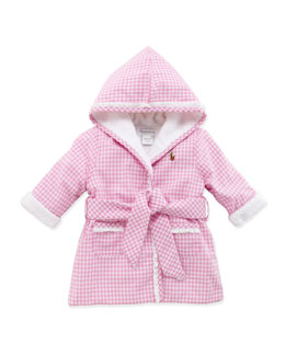 Ralph Lauren Childrenswear Girls' Gingham Bathrobe, Light Pink, 3-9 Months