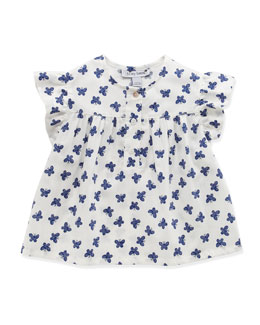 Busy Bees Evie Angel Wing Butterfly-Print Top, White, 3-24 Months