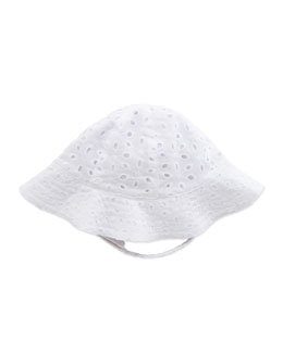 Busy Bees Eyelet Sun Hat, White