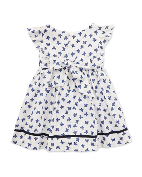 Ingrid Flutter Wing Dress, White/Blue, 2Y-10Y