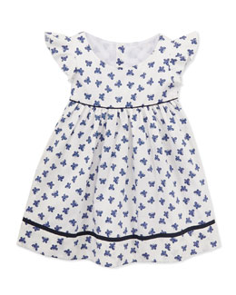Busy Bees Ingrid Flutter Wing Dress, White/Blue, 2Y-10Y
