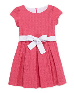 Busy Bees Sammy Box-Pleat Eyelet Dress, Pink, 2Y-10Y