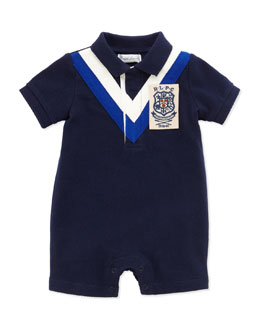 Ralph Lauren Childrenswear Chevron-Stripe Polo Shortall, Navy, 3-24 Months
