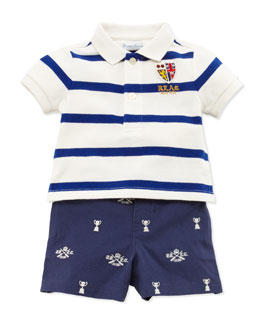 Ralph Lauren Childrenswear Striped Polo & Schiffli Shorts Set, 3-12 Months