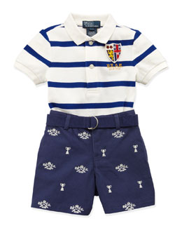 Ralph Lauren Childrenswear Striped Polo & Schiffli Shorts Set, 9-24 Months