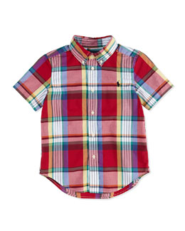 Ralph Lauren Childrenswear Blake Plaid Short-Sleeve Shirt, Red, Boys'