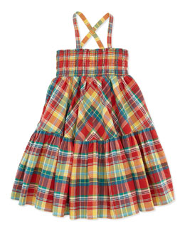Ralph Lauren Childrenswear Smocked Plaid Dress, Red, Girls' 4-6X