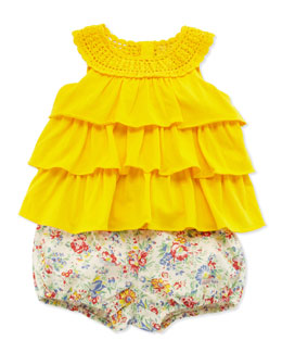 Ralph Lauren Childrenswear Knit Tunic & Floral Bloomers Set, Yellow, 9-24 Months