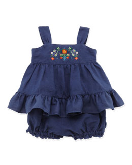 Ralph Lauren Childrenswear Embroidered Sunset Tunic & Bloomer, Blue, 9-24 Months