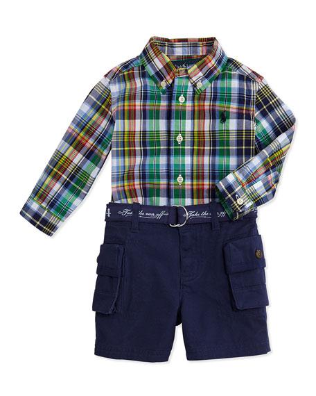 Plaid Shirt & Cargo Shorts Set, Navy, 3-12 Months