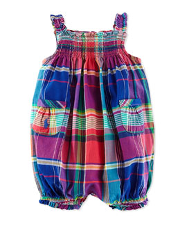Ralph Lauren Childrenswear Madras Bubble Shortall, Blue, 3-24 Months