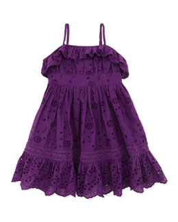 Ralph Lauren Childrenswear Ruffle Eyelet Sundress, Purple, Toddler Girls' 2T-3T