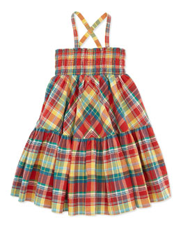 Ralph Lauren Childrenswear Smocked Plaid Dress, Red, Toddler Girls' 2T-3T