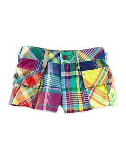 Ralph Lauren Childrenswear Madras-Plaid Cargo Shorts, Red, Girls' 2T-3T