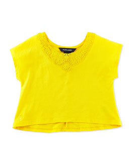 Ralph Lauren Childrenswear Lace-Trimmed Cotton Tee, Yellow, Girls' 2T-3T