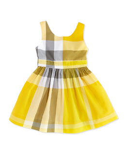 Burberry Check Dress with Back Bow, Yellow, Girls' 4Y-10Y