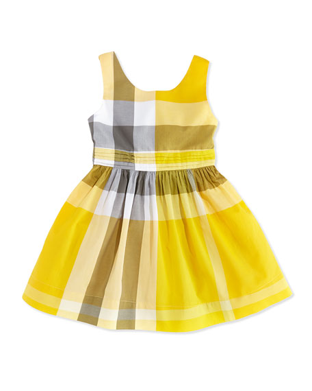 Check Dress with Back Bow, Yellow, Girls' 4Y-10Y