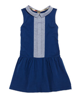 Burberry Pintuck-Front Cotton Dress, Blue, Girls' 4Y-10Y