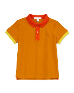 Burberry Colorblock Pique Polo, Orange