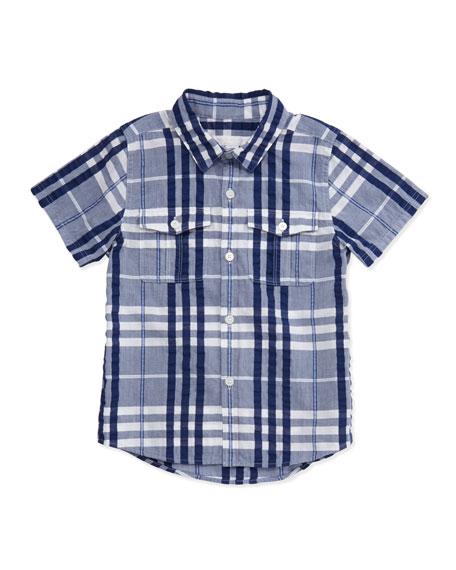 Short-Sleeve Crinkle Check Shirt, Blue, Boys' 4Y-10Y