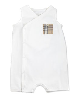 Burberry Sleeveless Check-Pocket Playsuit, White, 3-24 Months