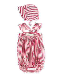 Burberry Striped Cotton Overalls & Hat, Pink, 3-24 Months