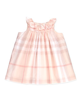 Burberry Ruffle-Collar Check Dress, Ice Pink, 3-24 Months