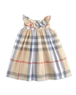 Burberry Ruffle-Collar Check Dress, Pale, 3-24 Months