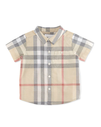 Burberry Short-Sleeve Check Shirt, Pale Classic, 3-24 Months