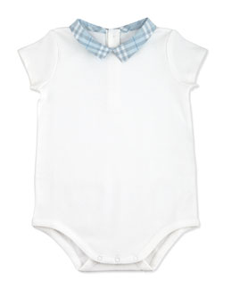 Burberry Check-Collar Playsuit, White, 1M-24M