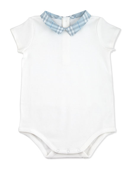 Check-Collar Playsuit, White, 1M-24M