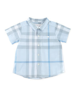Burberry Short-Sleeve Check Shirt, Blue, 3-24 Months
