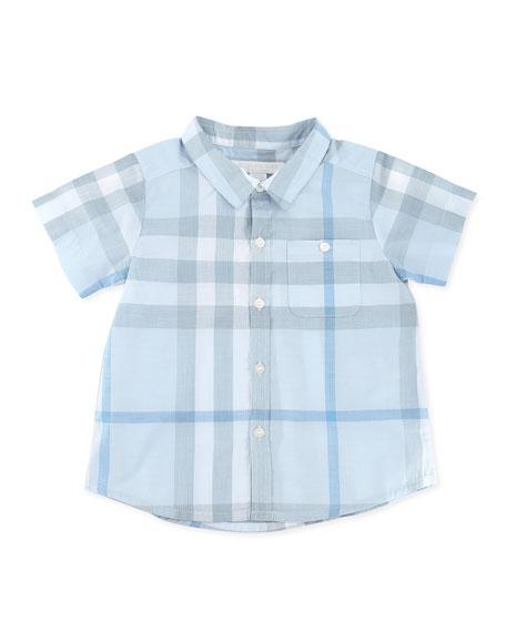 Short-Sleeve Check Shirt, Blue, 3-24 Months