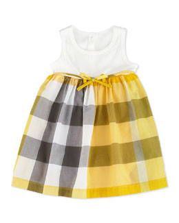 Burberry Ribbed Tank Combo Dress, White, 3-18 Months