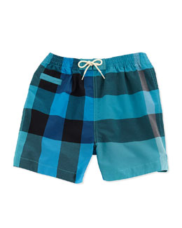 Burberry Check Swim Trunks, Blue, 3M-2Y