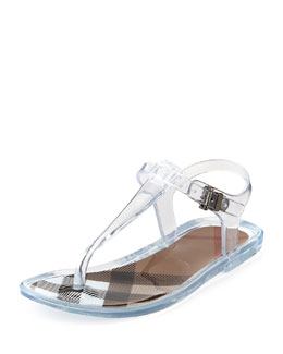 Burberry Jelly Thong Sandals, White,Youth