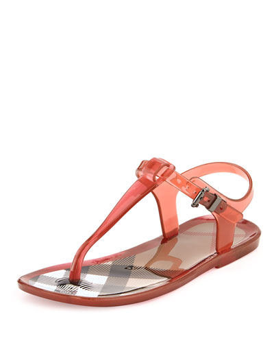 Burberry Jelly Thong Sandals, Pink, Youth