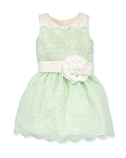 Zoe Peppermint Lace-Overlay Party Dress, Sizes 2-6