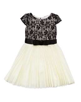 Zoe Ladies Who Lunch Pleated Swing Dress, White/Black, Sizes 4-6