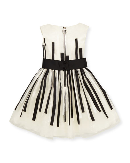 Black & White Beauty Organza Dress, White/Black, Sizes 4-6