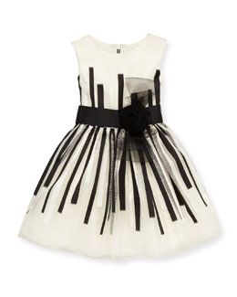 Zoe Black & White Beauty Organza Dress, White/Black, Sizes 4-6