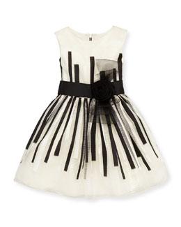 Zoe Black & White Beauty Organza Dress, White/Black, Sizes 8-10