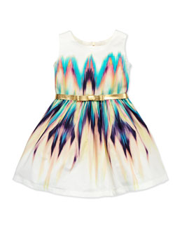 Zoe Dip-Dye Delight Ikat Party Dress, Multi, Sizes 2-6