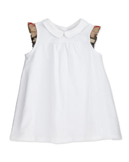 Burberry Flutter-Check-Sleeve Dress, White, 3M-2Y