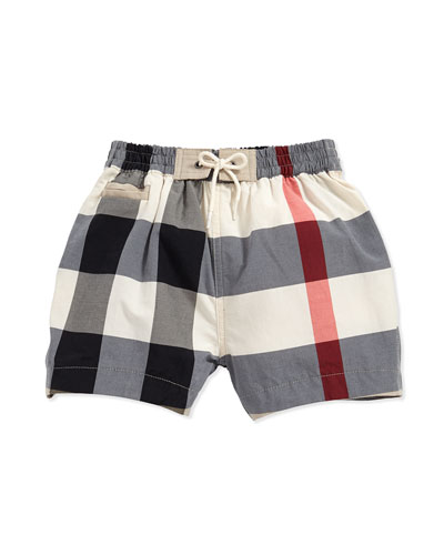 Burberry Check Swim Trunks, 3M-3Y