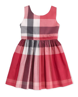 Burberry Check Dress with Back Bow, Pink, Girls' 4Y-10Y