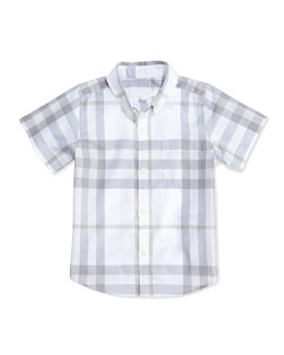 Burberry Short-Sleeve Check Shirt, White, Boys' 4Y-10Y