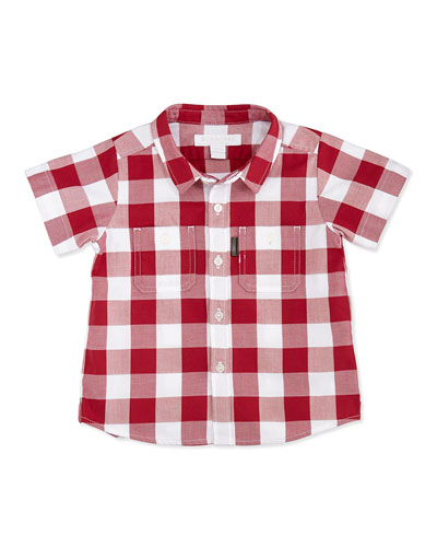 Burberry Gingham Two-Pocket Shirt, Red, 3-18 Months